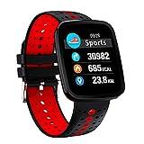 Fitness Tracker Laufen, Aktivitäts Tracker mit Pulsmesser Smart sockenuhr Sportmodi Bluetooth Schrittzähler IP67 Wasserdichte Smart Watch für Männer, Frauen,Red