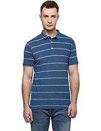 CAYMAN Blue Smart Fit Striped Polo T-Shirts