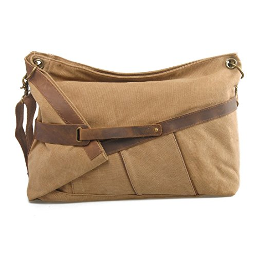 VRIKOO Large Vintage Canvas Leather Shoulder Messenger Bag Leisure Duffel Laptop Satchel Cross-body Bags (Khaki) Cachi