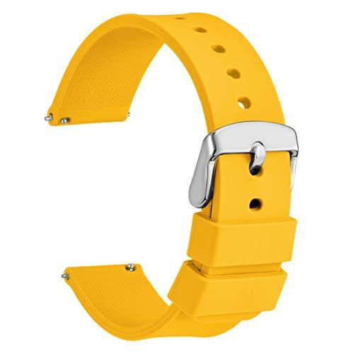 Wocci 22mm cinturino orologio in silicone, sgancio rapido ricambio (giallo)