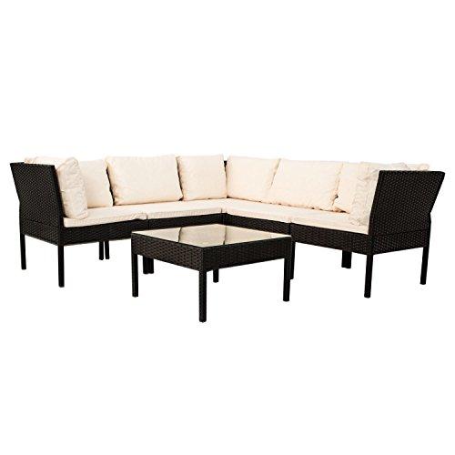 Polyrattan Gartenmöbel Lounge Sitzgruppe Santorin - schwarz