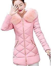 6ce3f6970fc3 Cappotto Trapuntato Donna Eleganti Moda Addensare Caldo Ragazza Slim Fit  Manica Lunga Piumino con Cappuccio Pelliccia