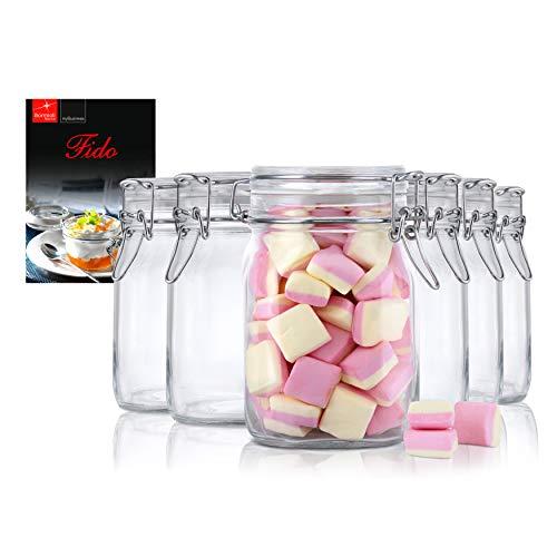 Bormioli 6er Set Einmachglas Bügelverschluss Original Fido 1,0L incl Rezeptheft