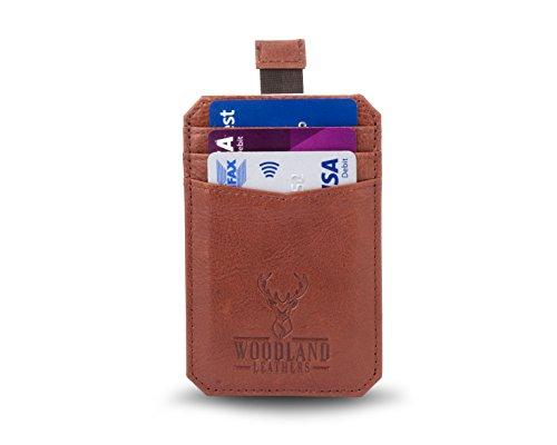 Woodland Leathers Deluxe braun Leder Slim Line Tasche Kreditkarte Fall (Tan-leder-karte Fall)