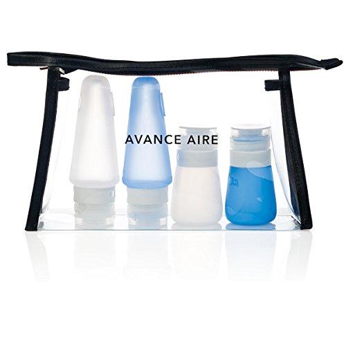 AVANCE Aire Reiseset: Kulturbeutel transparent mit Reise Flaschen (blau/transparent)