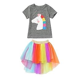 Yanhoo Mädchen Kleider Festlich, Oyedens Kurzarm-T-Shirt für Kinder Cartoon-Pony-Print-T-Shirt Top + Regenbogen-Tutu-Rock Kurzer Kurzer Netzrock-Satz