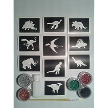 temático del dinosaurio conjunto tatuaje purpurina incluyendo 30 plantillas + 5 colores + purpurina niños pegamento de Recaudacion de Fondos T-Rex de mamut