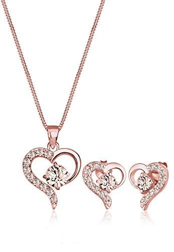 Elli Damen-Schmuckset Halskette + Ohrringe Herz Liebe 925 Silber Swarovski Kristall braun Rundschliff - 0903681116_45 - 45cm Länge