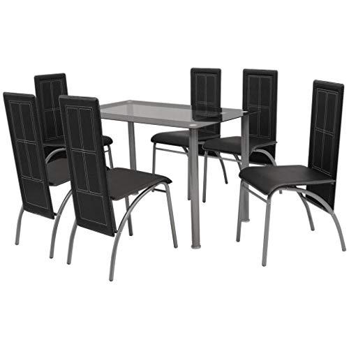 Fesjoy Juego de Mesa de Comedor Mesa de Comedor y 6 sillas....