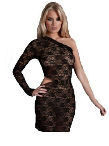 Ann Summer Black Stretch Lace One Shoulder Cut-Out Dress (14)