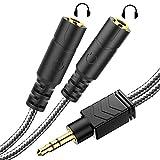 MillSO Y Splitter Klinke Kabel 3.5mm Headset Adapter Audio Verteiler 2 weiblich zu 1 männlichen für Kopfhörer, Lautsprecher, IOS & Android Smartphone, PC, Laptop, MP3 & Mehr - Schwarz