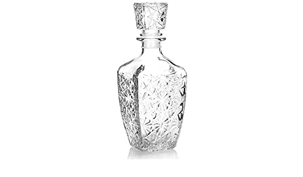 Noble Whiskey Carafe Approx COM-FOUR/® Classic Glass Carafe 750 ml Cognac Decanter for Whiskey Liqueur and Other high-Quality Spirits