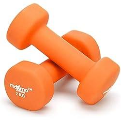 Maximo Fitness Mancuernas de Neopreno (Par) - Pesas de Mano Desarrollo de Fuerza, Tonificación Muscular, Gimnasia en Casa y Rehabilitación - Ideal para Hombres y Mujeres. (Orange - 2kg x 2)