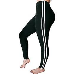 Pantalones Yoga Mujeres, Yusealia Cintura Media A Rayas Leggins Fitness Pantalones Elasticidad de Moda Empalmada Pantalones De Correr Leggings EláSticos De Flaco Fitness Leggins Mujer