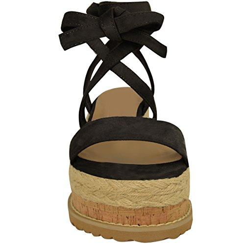 Femmes Paltes Liège Sandales Espadrille Semelle Compense Cheville Chaussures À Lacets Taille Noir Daim Synthétique