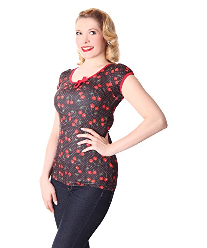 Liquor Brand Cherry Kirschen Girl Doll Puffärmel Rockabilly T-Shirt Schwarz