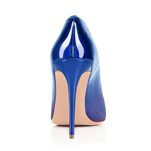 Damen Round Toe Ausgebogte Rim Stiletto High Heels Pumps Party Sandalen Blau und Lila