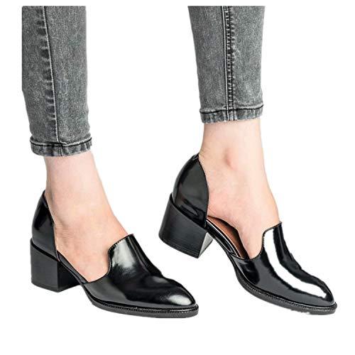 Scarpe pelle donna basse eleganti chiuse mocassini punta derby estate sandali blocco tacco 5.5 cm moda comode sneakers nero 39