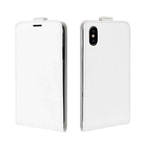 GR iPhone 8 Cover Case - Crazy Horse Texture Vertikale Flip Ledertasche mit Kartensteckplatz und Bilderrahmen, kleine Menge empfohlen, bevor das iPhone 8 startet ( Color : White ) White