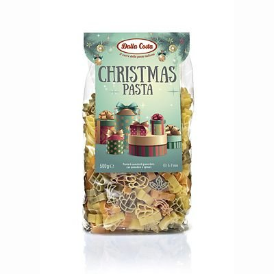 Dalla Costa Christmas Tricolour Pasta - Tree, Presents, Candles & Holly, 500g
