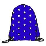 gthytjhv Kordelzug Rucksack Schultertasche Gym Bag Travel Backpack Jumping Stars on Blue 2 Leicht, Einzigartig 16.9 x 14.2