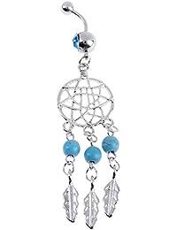 Zibuyu Women Fashion Body Piercing Jewelry Stainless Steel Navel Nail Ring(Blue)