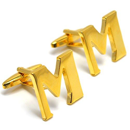 MESE London Buchstabe Name M Initiale Manschettenknöpfe 18 Karat Vergoldet in Luxus ()