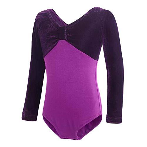 Dance Weihnachten Tap Kostüm - Panda Legends Langarm lila Ballettkleid Basic Dance Ballett Trikots für Mädchen