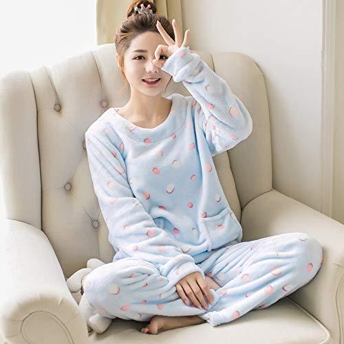 Yshuiyi Pyjamas Winter-Lange Hülsen-Frauen-Pyjama-Gesetzte Karikatur-Punkt-Korallen-Fleece-Starke Warme Pyjamas Stellten Weiblichen Flanell-Hauptschlafanzug-Hosen-Anzug EIN
