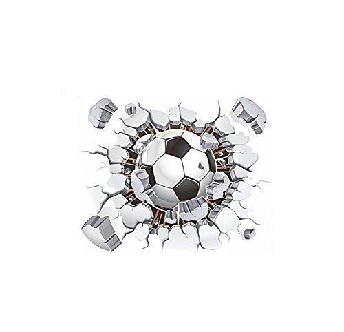 Cdet Wandaufkleber Aufkleber Selbstklebender Kleber/Mauer/Keramikfliese/Glas/Küche/Geschenk/Auto/Galerie DIY Abnehmbar Fensterfolien (Fußball gebrochene Wand)