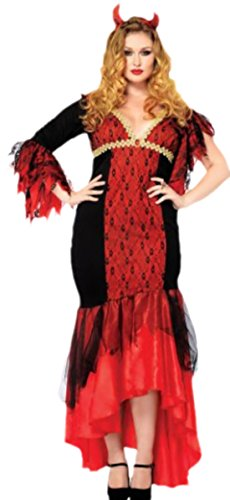 Diva Teufel Kostüm, Halloween, Karneval, 3XL/4XL, Rot-Schwarz (Teufel Kostüm Frisuren)