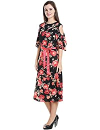 Ishin Georgette Black Printed Cold Shoulder Party Wear Casual Daily Wear New Collection Latest Design Trendy Women's Western Wear Dress