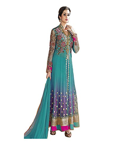 RedHot Women's Anarkali Stlye Unstitched Salwar Suit / Dress Material in Georgette Fabrics (RHBL1001)Blue