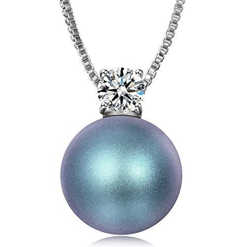 J.RENEÉ Zirkon Blau Perle Halsketten Damen mit Swarovski Perlen, Geschenke für Frauen
