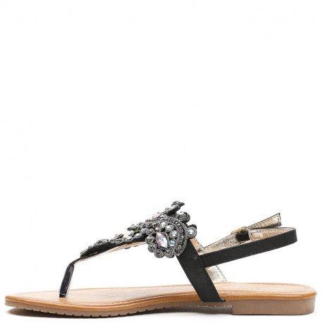 Ideal Shoes - Sandales plates à strass Meera Noir
