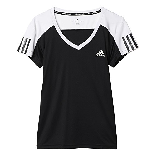 adidas Club Tee - Camiseta para mujer, talla XL, color negro/ blanco