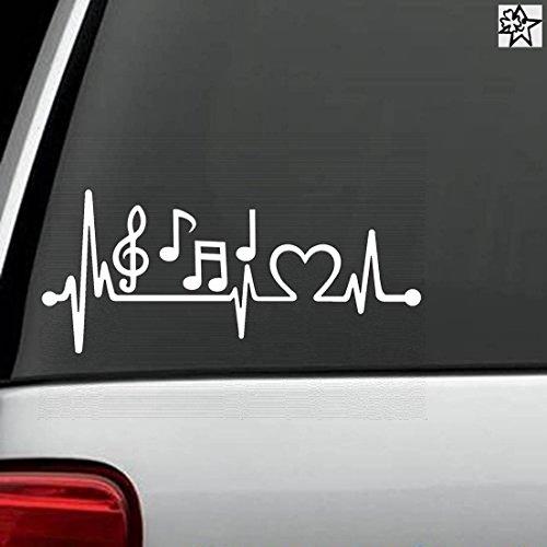 Herzschlag Aufkleber Noten Music Music Notes 20cm Sticker Herz Fan Hobby Leidenschaft Liebe für Auto Autoaufkleber