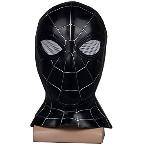 wthfwm Spider-Man-Maske Kopfbedeckung Marvel-Film Cosplay Latexmaske Requisiten Halloween Dress Up Maske Voller Kopf,Black-OneSize
