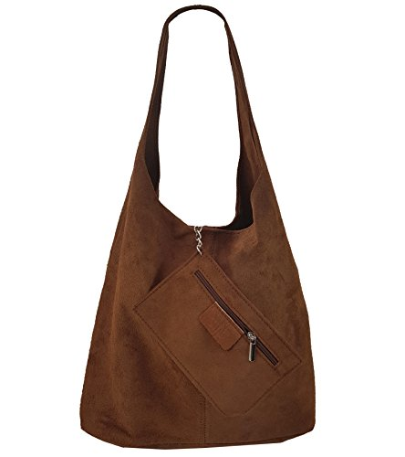 FreyFashion - Made in Italy, Borsa a spalla donna Marrone