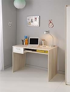parisot 2498bure bureau charly acacia clair blanc bois