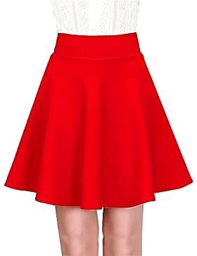Mujeres Ocio Color Sólido Falda Plisada Cintura Alta Elástica Corto Falda