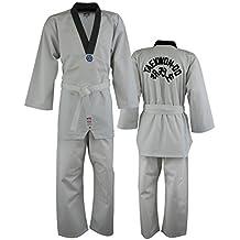MET-Z Vintage –Dobok de taekwondo, cuello en V, para adultos, hecho de algodón sintético, color blanco, aprobado por la ITF, color , tamaño 6/190