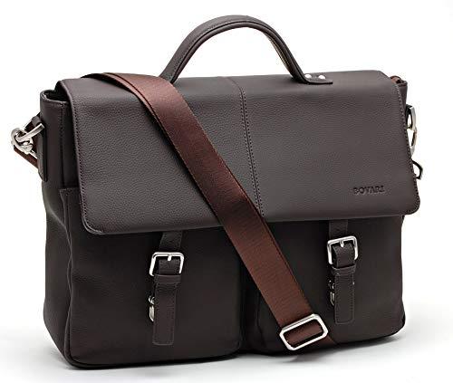 Bovari echt Leder Herren Aktentasche Premium Qualität Ledertasche Arbeitstasche Umhängetasche Laptop-Tasche 13 bis 15 Zoll Model Lyon - Größe L (braun matt)