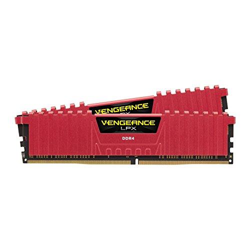 Cheapest Corsair CMK16GX4M2A2400C14R Vengeance LPX 16 GB (2×8 GB) DDR4 2400 MHz C14 XMP 2.0 High Performance Desktop Memory Kit – Red on Amazon