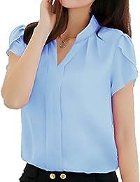 f8eb92aee33c Anyu Camicia Donna Colletto a V Elegante Manica Corta Chiffon Camicetta