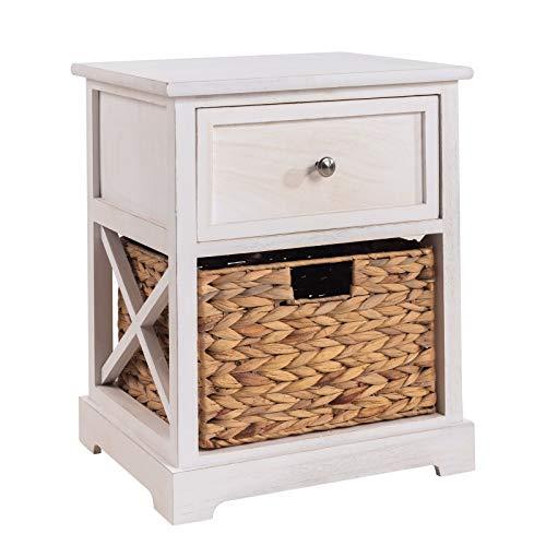 CARO-Möbel Nachtschrank Cheyenne Nachttisch Nachtkonsole in weiß, 1 Schublade, 1 Korb, Landhaus-Stil