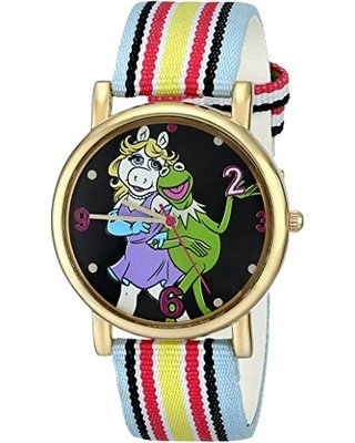 White Stripe Grosgrain (Muppets Women's MU1011 Kermit and Miss Piggy Dial Multi-colored Stripe Grosgrain Strap Watch)
