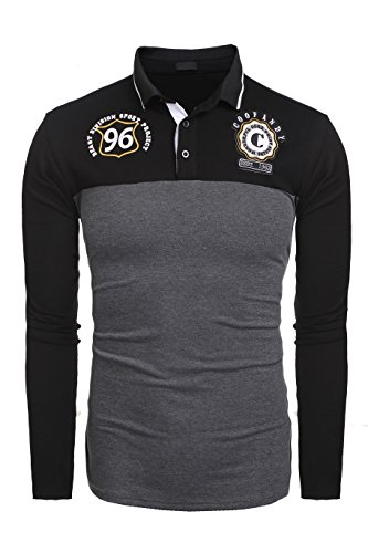 Burlady Herren Poloshirt Langarm Freizeit Baumwolle T-Shirt Stickerei Polo Shirt für Männer Buchstabe B Shirt