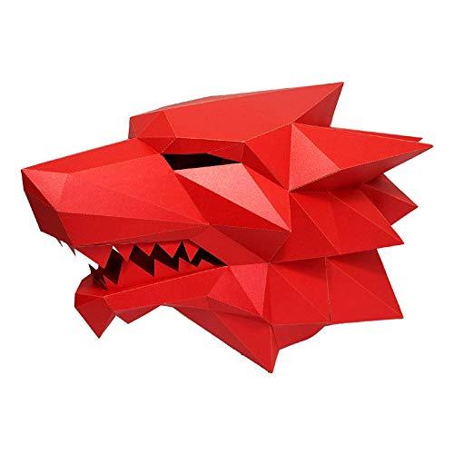 Kostüm Modell Mode - VAWAA 3D Papier Maske Mode Werwolf Tier Kostüm Cosplay DIY Papier Handwerk Modell Maske Weihnachten Halloween Prom Party Geschenk