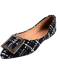 a508319c6a6947 Moontang Flacher Slip-On-Ballerinas für Damen aus spitz zulaufendem  Zehenbereich (Farbe   Schwarz